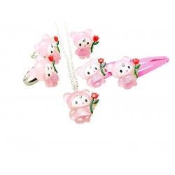 Kitty-Blumenkatzen-Kinderschmuck-Set1