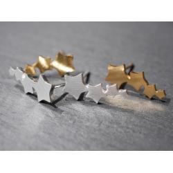 3 sternen ohrstecker gold - silber