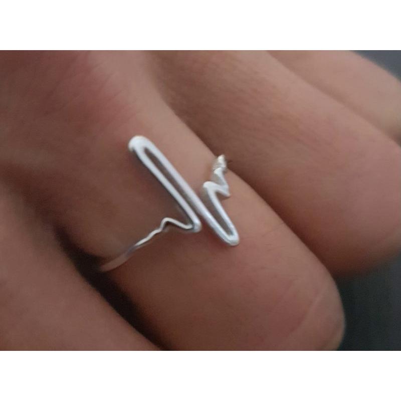 Herzschlag Ring silber