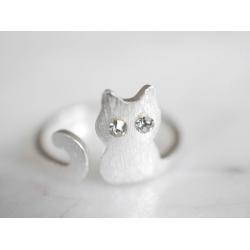 cat ring silber