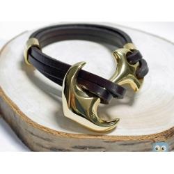 leder wickelarmband mit anker gold