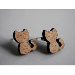 Katzen Ohrstecker aus Holz