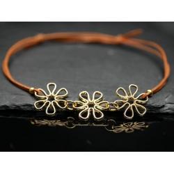 Lederarmband-Blüten-gold