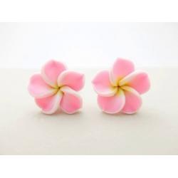 Rosa-Hawaii-Blumen-Ohrstecker
