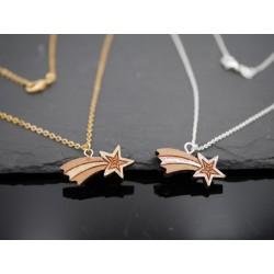 Gold oder Silber Kette mit Sternschnuppen Anhänger aus Holz