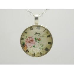 Vintage Uhr Cabochon Halskette