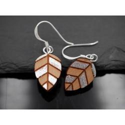 Holz Ohrhänger Blatt mit...