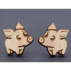 Echtholz Ohrstecker - Schwein