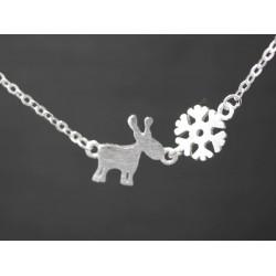 925er Silber Halskette mit Elch und Schneeflocke