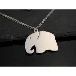 Edelstahl Halskette mit Elefant - silber