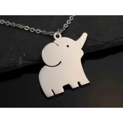 Edelstahl Halskette mit Baby Elefant - silber