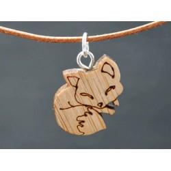 Leder Halskette mit Holz...