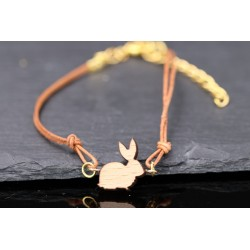 Lederarmband mit Hase aus Holz