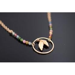 Halskette mit bunten Natursteinperlen - Blatt - gold