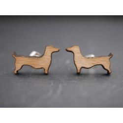 Dackel Ohrstecker aus Holz