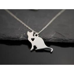 Edelstahl Halskette mit sitzender Katze mit Herz als Anhänger