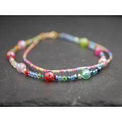 Buntes doppeltes Perlenarmband - Glasperlen