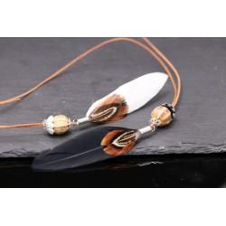 Lederhalskette mit Feder Anhänger und Keramik Perlen - weiß oder schwarz
