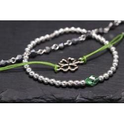 Armbänder Set oder einzeln - Kleeblatt Perlen - grün silber