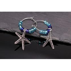 Creolen mit Seestern und Perlen - silber blau