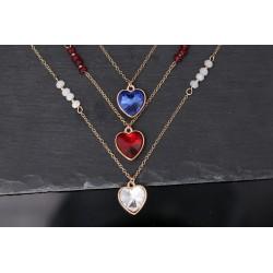 Herz Halskette - gold mit Naturperlen - blau, rot oder weiß