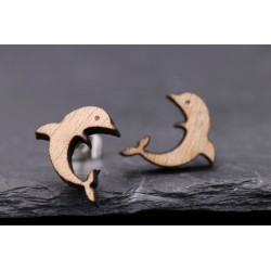 Delfin Ohrstecker aus Holz