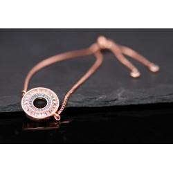 Armband mit Strass Ring Kreis - blau rosegold