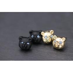 Bär Ohrringe mit Strass - gold oder schwarz