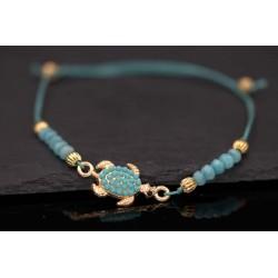 Perlenarmband mit Schildkröte - türkis gold