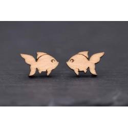 Goldfisch Ohrstecker aus Holz