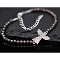 Perlen Armband mit Strassengel - silber anthrazit