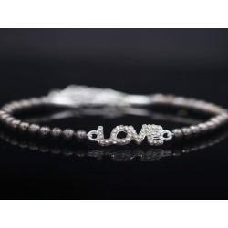 Perlen Armband Schriftzug  LOVE - silber anthrazit