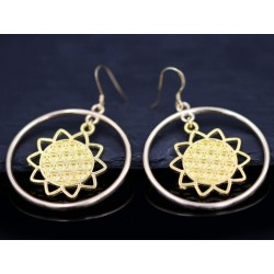 Ohrringe mit Sonne im Ring - gold