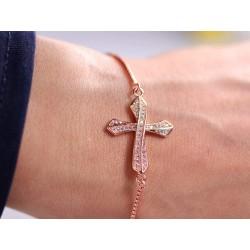 Edles Armband mit Strass Kreuz - rosegold
