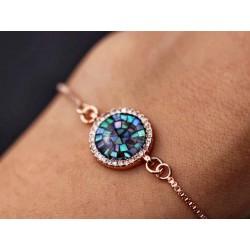Armband mit edlem Perlmutt-Strass Charm - rosegold
