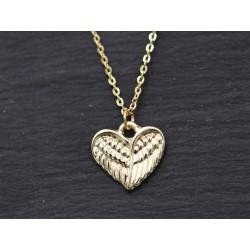 Halskette mit Flügel Herz - gelbgold
