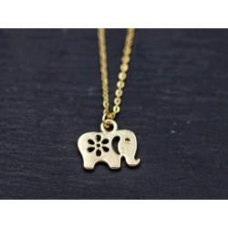 Halskette mit Elefant Anhänger - gold