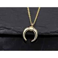 Halskette mit Halbmond - doppel Horn - gold