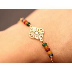 Armband mit Naturstein Perlen und Mandala - gold