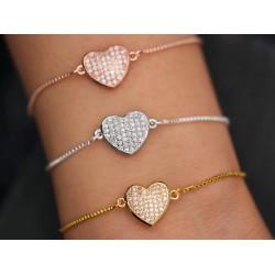 Armband mit Strass Herz -...
