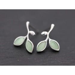 925er Silber Blatt Ohrstecker - silber grün