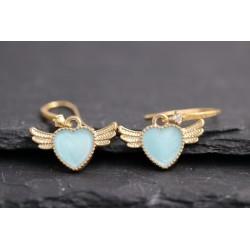 Herz mit Flügel Ohrringe - gold blau