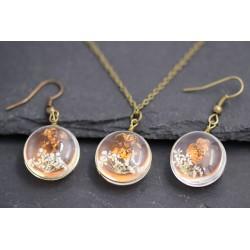 Echte Blüten Ohrringe Halskette oder Set