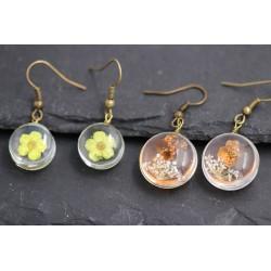 Ohrringe mit echten Blüten - bronze