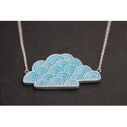 Halskette mit handmade Wolke - silber blau