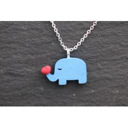 Halskette mit Elefant und Herz - silber blau