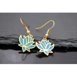 Lotus Blumen Ohrringe - gold türkis
