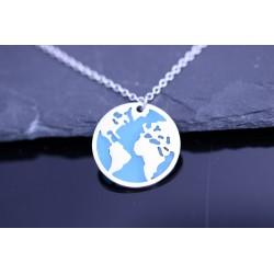 Edelstahl Welt Globus Halskette - silber