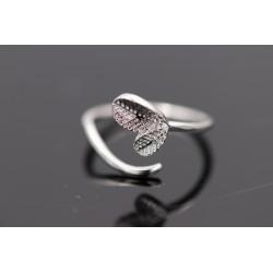 Blatt Ring - verstellbar - silber