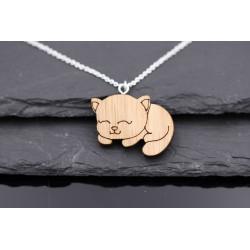 Halskette mit Holz Katze -...